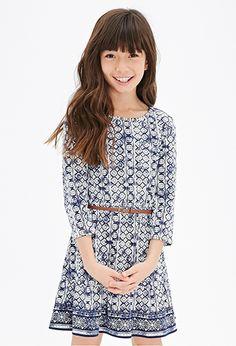 Belted Medallion Print Dress (Kids) | FOREVER21 girls - 2052288369