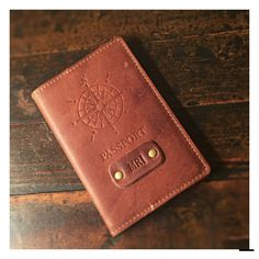 c986bbee5 Monogram Brass Debossed Leather Passport Cover