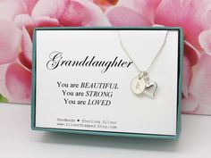 Gift for granddaughter necklace - sterling silver heart and initial necklace - you are beautiful - Heart necklace - granddaughter Mrs Necklace, Diamond Necklace Set, 14k Gold Necklace, Initial Necklace, Horseshoe Necklace, Lucky Horseshoe, You Are Beautiful, Handmade Sterling Silver, Initials