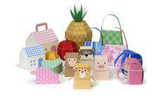 Free PDF DIY 3D printable print and cut gift boxes animals houses pineapple food apple orange heart handbag backpack pig tiger monkey meerkat