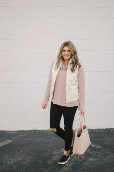 White puffer vest outfit - how to wear a puffer vest shop this look or see more winter outfits at! Winter Vest Outfits, Vest Outfits For Women, Winter Outfits Women, Fall Outfits, Casual Outfits, Fashion Outfits, Clothes For Women, Fashion Trends, Outfit Winter