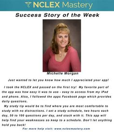 Michelle Morgan is our #NCLEX Mastery Success Story of the Week. Congratulations on passing your NCLEX, and becoming a #nurse. We're glad we could help play a part in you achieving your dreams! If you want to know how Michelle passed or if you need help on your NCLEX studies visit: www.nclexmastery.com.
