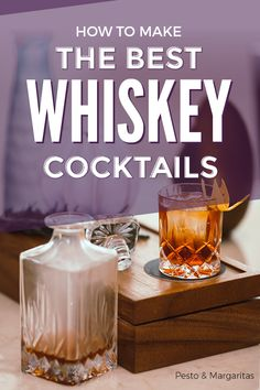 Whiskey is a big category of drinks with regional specialities and different ways to make it. Best Whiskey Cocktails, Sweet Cocktails, Best Cocktail Recipes, Wine Cocktails, Cocktail Ideas, Drink Recipes, Mixed Drinks, Fun Drinks, Alcoholic Drinks