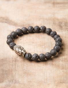 Lava Stone Antiqued Buddha Bracelet