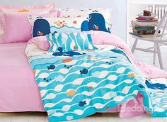 Cute Whale and Small Fish Pattern Cotton Kids Duvet Cover Sets Boys Bedding Sets, Matching Bedding And Curtains, Cute Whales, Fish Patterns, Duvet Cover Sets, Luxury Bedding, Toddler Bed, Small Fish, Kid Beds
