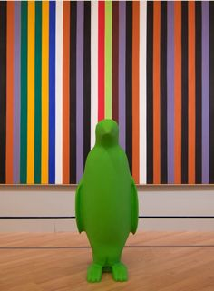 """""""Green Penguin"""" from 21c Museum Hotels --Bentonville visited Crystal Bridges, and if you correctly identify the artwork that our friend is photographed alongside, you may win some special prizes. (check our Facebook photo albums if you need some name/title assistance). crystalbridges.org See details here: http://www.21cmuseumhotels.com/bentonville/2013/07/23/day-two-fine-lines/"""