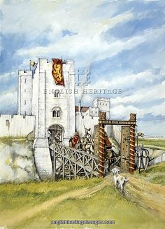 OLD SARUM, Wiltshire. Reconstruction drawing of the castle gatehouse entrance to…