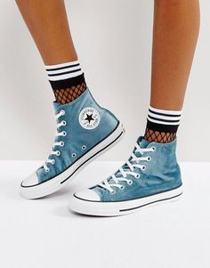 Converse Chuck Taylor All Star Velvet Hi Top Sneakers In Teal The clothing culture is very old. Converse Style, Converse Sneakers, High Top Sneakers, Green Sneakers, Converse High, Sock Shoes, Cute Shoes, Me Too Shoes, Outfits