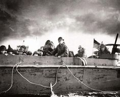 Troops and crewmen aboard a Coast Guard manned LCVP as it approaches a Normandy beach on D-Day 6 June 1944 D Day Normandy, Normandy Beach, Normandy France, Us Marines, Utah, 4th Infantry Division, D Day Landings, Landing Craft, Us Coast Guard