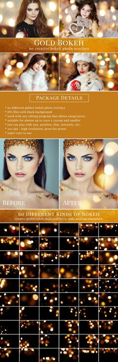 Creative Christmas gold bokeh photo overlays - all you need to style amazing holiday scenes. Great for Christmas mini sessions but also for glamour portrait and sunset pictures. Professional photo overlays for Photoshop, Zoner, Gimp etc. Photography Lessons, Photography Tutorials, Amazing Photography, Photoshop For Photographers, Photoshop Photography, Photo Hacks, Gold Bokeh, Photo Maker, Photoshop Design