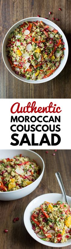 Authentic Moroccan Couscous salad. An exotic blend of heady spices, fresh fruits, tangy veggies and fluffy couscous | hurrythefoodup.com