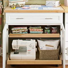Sew Zone: Handy Drawers  Sliding shelves make getting items from the back easier. Some newer cabinets come with sliders, and older ones often can be retrofitted with them. Before ordering cabinets, measure the largest, heaviest piece of equipment you will use and make sure it will fit on one of the bottom shelves.