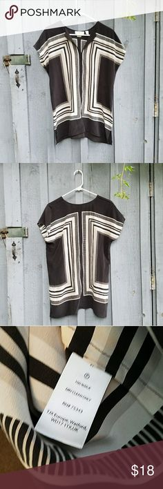 New!! Cynthia Rowley silk top Cynthia Rowley 100% silk top, geometric print. Boxy, baggy type fit. Size medium. New with tag. Colors are Black, White, beige. Cynthia Rowley Tops Blouses