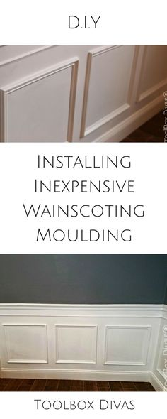 Step by Step DIY how to tutorial installing wainscoting dining room wall treatment beadboard moulding molding trim picture frame @toolboxdivas #DIY #Wainscoting #Moulding