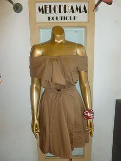 khaki dress off the shoulder!