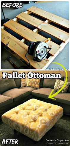 Wooden Pallet Ottoman - 150 Best DIY Pallet Projects and Pallet Furniture Crafts - Page 43 of 75 - DIY & Crafts