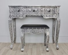 Gorgeous blackened silver embossed metal desk dressing table and stool - Billie is a blackened silver metal writing desk or dressing table and stool