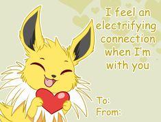 Jolteon Eeveelution Valentines Card Pokemon Valentine Cards, Cool Pokemon Cards, Pokemon Craft, Type Pokemon, Pokemon Funny, Pokemon Stuff, Pokemon Eevee Evolutions, Pokemon Eeveelutions, Eevee Comic