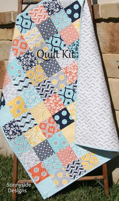 Patchwork Quilt Kit Moda Fabrics Mixologie by by SunnysideFabrics Patchwork Quilt Kit, Moda Fabrics, Mixologie by Studio M, Craft Project, Navy Blue Gray Grey, Simple Easy Beginner Quick DIY Do It Yourself