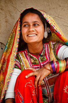 Portrait of a woman from the Marwada Meghwal Harijan tribe wearing traditional clothing in the village of Bhirendiara, located roughly 50km from Bhuj in the Kutch District.