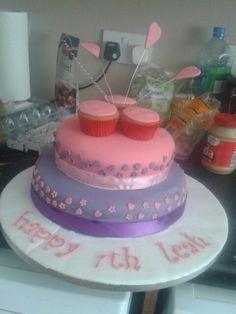 Hearts and cupcake cake