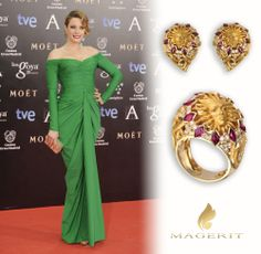 Carolina Bang stunning dressed in green at the Red Carpet of Premios Goya 2014 that took place in Hotel Auditorium Madrid last sunday. The actress chose for the event earrings and ring in 18kt yellow gold, diamonds and rubies from Versailles Collection, inspired in Louis XIV, known as the Sun King Stylist: Freddy Alonso  #Celebrities #fashion #VersaillesCollection #CarolinaBang #Magerit #PremiosGoya2014 #jewels