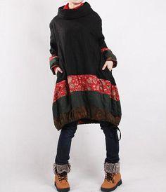 Loja MyLieb - Winter loose padded coat/ linen babydoll padded dress/ by MaLieb Winter Coats Women, Coats For Women, Winter Jackets, Mode Plus, Mode Boho, Boho Fashion, Womens Fashion, Winter Fashion, Fashion Trends