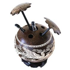 Amazon.com - BaibaiShun Handicrafts Chinese Characteristic Coconut Shell Carved Pen Vase:Dragon and Phoenix Bring Rejoicing Pattern Used for Ornament, Office and Gift(Brown, Coloring) -