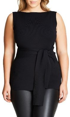 Classic and Chic - pairs with everything....Plus Size Women's City Chic Tie Waist Knit Top {affiliate link}