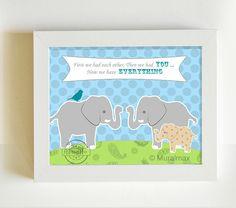 "Elephants Baby Nursery Decor Art for Children Kids Wall Art Baby Boy  Elephant family print 8""x 10"" on Etsy, $20.00"