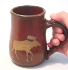 Moose Mug  Rustic Rust Red Coffee Tea Cup  Brown by pottersong on Etsy. Bought a set for my mom and they are WONDERFUL!