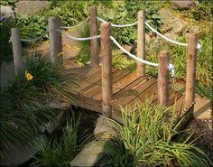 Landscape Rope Nautical | Treated Pine Rope Rail Bridge w/White Cedar Posts contemporary kitchen ...