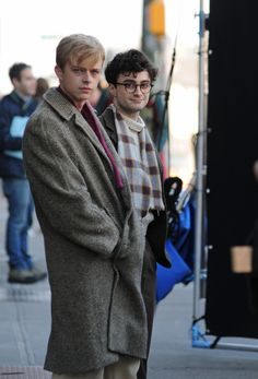 "First look at Daniel Radcliffe as Allen Ginsberg and Dane DeHaan as Lucien Carr, in the upcoming movie ""Kill Your Darlings"". Kerouac will be played by actor Jack Huston."