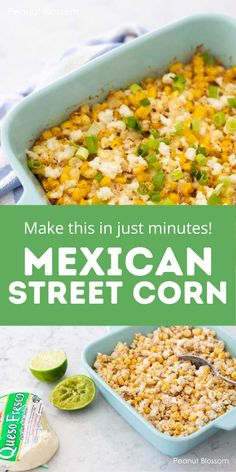 It only takes 5-minutes of prep to make this easy and delicious Mexican street corn casserole for your next Taco Tuesday dinner. A fun twist on corn that even picky eaters will enjoy. Great suggestions for different cheese variations to personalize it for your tastes. Taco Side Dishes, Mexican Dishes, Side Dish Recipes, Easy Dinner Recipes, Appetizer Recipes, Easy Recipes, Appetizers, Family Meals, Kids Meals