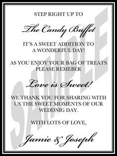 Wedding Candy Bar Sign, Candy Buffet Sign, Printable Wedding Candy Buffet Sign for Your Wedding or a Candy Buffet Signs, Candy Signs, Candy Table, Inexpensive Wedding Venues, Wedding Reception Decorations, Wedding Entrance, Wedding Ideas, Budget Wedding, Wedding Stuff