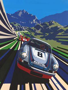 Motorsport artwork by Tim Layzell Martini Porsche - Tim Layzells Graphic Style Captures Sheer Speed Auto Motor Sport, Sport Cars, Race Cars, Porsche 911 Cabriolet, Porsche Cars, Porsche 993, Auto Illustration, Pop Art, Bmw Autos