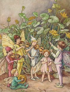 "seabois: ""A fairy orchestra"" by Cicely Mary Barker illustration for The Water Babies"