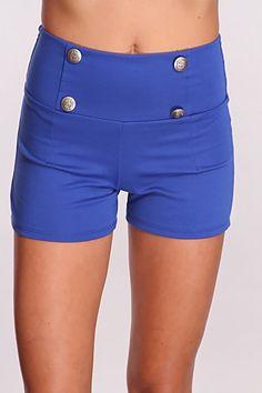 Royal Blue High Waist Shorts