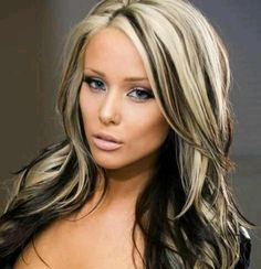 Long Straight Black and Blonde Hairstyle