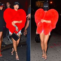 Rihanna Saint Laurent red heart fur, Dsquared2 Riri sandals, vintage Chanel…