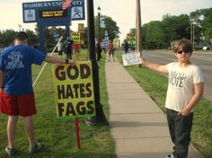 "Josef Miles, 9, was walking with his mother near the Washburn University campus late last week when he spotted the extremist church protesting with signs about god's hatred of homosexuals and other groups. ""GOD HATES NO ONE"""