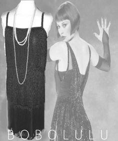 Sexy BLACK FRINGE DRESS Vtg 20s FLAPPER Moll GATSBY Speakeasy CHARLESTON 12 NWT