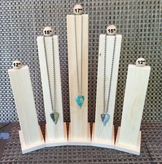 Tall Slim Line Wood Necklace Jewelry Display
