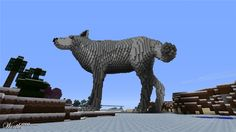minecraft realistic wolf statue - Google Search
