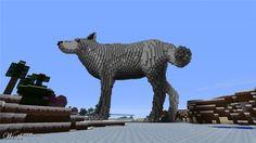 minecraft realistic wolf statue - Google Search
