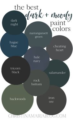 These are the best dark paint colors to consider when thinking of painting the interior of your house. These colors are bold, add contrast and can be used in many different design styles - from bohemian to farmhouse. Dark paint colors can be intimidating, but when they are paired with the right style elements, they can create a cozy and moody room. #christinamaria #darkpaintcolors #bohemianliving #diyhomedecor Dark Paint Colors, Interior Paint Colors, Wall Colors, Interior Design, Light Painting, Painting Tips, House Painting, Dark Bohemian, Farm House Colors