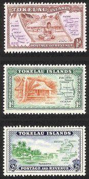 (30) Tokelau Islands 1948 Set of Three MLH SG # 1-3