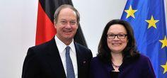 Treffen zwischen Botschafter Emerson und Andrea Nahles, Bundesministerin für Arbeit und Soziales