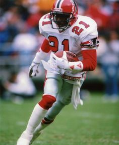 Deion Sanders was a cornerback selected no. 5 overall in the 1989 NFL Draft by the Atlanta Falcons. Deion was extremely fast; at the combine he ran an impressiv Falcons Football, Nfl Football Players, Football Helmets, Nfl 49ers, Football Uniforms, Nfl Sports, Sports Teams, Dallas Sports, Football Pictures