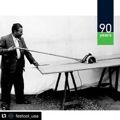 "#Repost @festool_usa ・・・ Festool's very first track saw! Here's co-founder Gottlieb Stoll testing it out back in 1962. The track saw included a 4' 7"" (140 cm) extension arm with an on/off switch. There's been a lot of innovation in the last 53 years, and there will be lots more in the years to come! #festool #tbt #festool90"